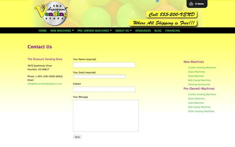 Screenshot of Contact Page thediscountvendingstore.com - Contact Us - The Discount Vending Store - captured Sept. 30, 2014