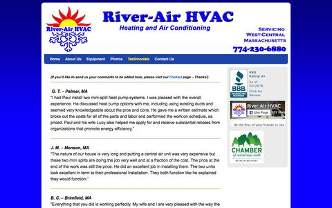 Screenshot of Testimonials Page riverairhvac.com - Testimonials - River-Air HVAC - Heating and Air Conditioning - captured Feb. 23, 2016