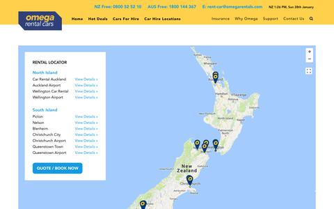Screenshot of Locations Page omegarentalcars.com - Car Rental Locations NZ | Rent a Car New Zealand | Omega Rental Cars NZ - captured Jan. 28, 2018