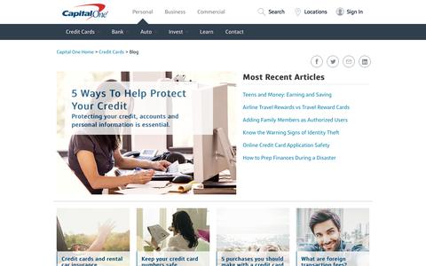 Screenshot of Blog capitalone.com - Credit Card Information and Resources | Capital One - captured Feb. 14, 2018