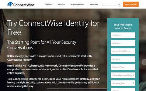 Screenshot of Trial Page connectwise.com - Cybersecurity Risk Assessment Trial | ConnectWise Identify Trial - captured Jan. 3, 2020