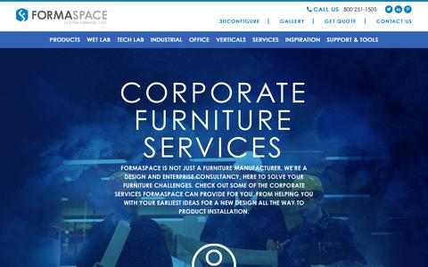 Screenshot of Services Page formaspace.com - Corporate Services - Lab Design - 5S Lean - Install | Formaspace - captured Oct. 11, 2018