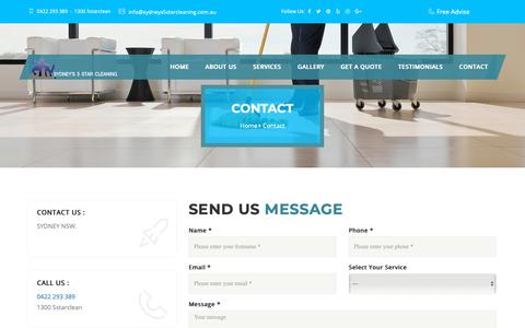 Screenshot of Contact Page sydneys5starcleaning.com.au - Contact | Sydney's 5 Star cleaning - captured Oct. 20, 2018
