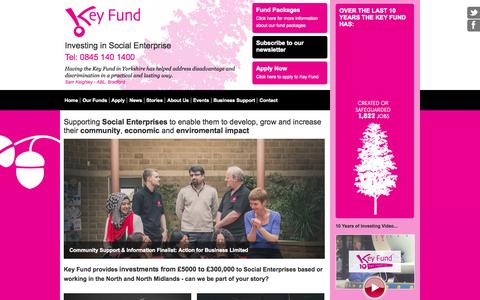 Screenshot of Home Page thekeyfund.co.uk - The Key Fund - Flexible grants, loans & equity packages for voluntary & community organisations, charities, co-operatives & social enterprises - Yorkshire - captured Oct. 6, 2014