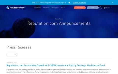Screenshot of Press Page reputation.com - Reputation.com Announcements - Reputation.com   The online reputation management leader - captured Jan. 3, 2019