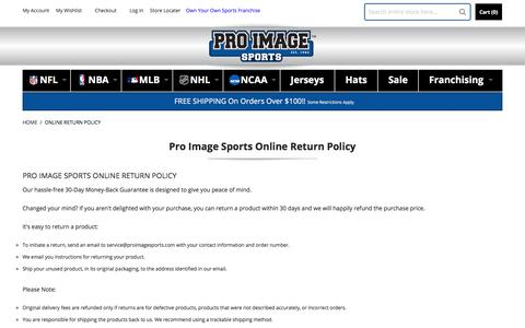 Screenshot of Support Page proimagesports.com - Online Return Policy - captured July 22, 2018
