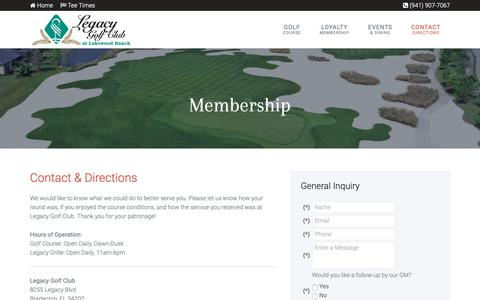 Screenshot of Contact Page Maps & Directions Page legacygolfclub.com - Legacy Golf Club | Bradenton, FL - Contact & Directions - captured Oct. 21, 2018
