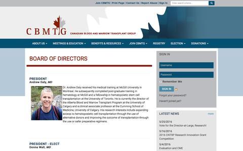 Screenshot of Team Page cbmtg.org - Board Of Directors - CBMTG - captured June 11, 2016