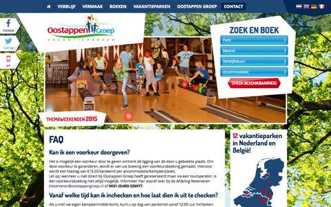 Screenshot of FAQ Page oostappenvakantieparken.nl - FAQ | Oostappen Vakantieparken - captured Sept. 26, 2015