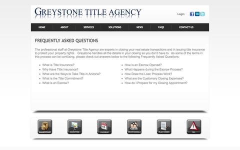 Screenshot of FAQ Page greystonetitle.com - Frequently Asked Questions     Greystone Title Agency - captured Nov. 2, 2014