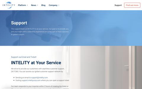 Screenshot of Support Page intelity.com - Global Customer Suppport | INTELITY - captured Nov. 10, 2019