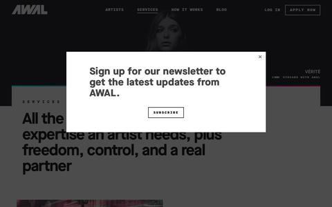 Screenshot of Services Page awal.com - Music Services, Distribution, Playlists & more | AWAL - captured July 28, 2018