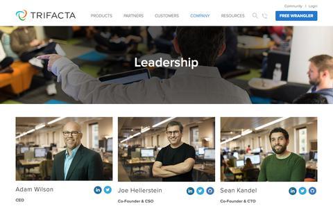 Screenshot of Team Page trifacta.com - Leadership Team - captured March 14, 2019