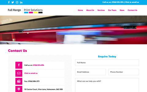 Screenshot of Contact Page fullrangeprintsolutions.co.uk - Contact Us - Full Range Print Solutions - captured Nov. 14, 2018