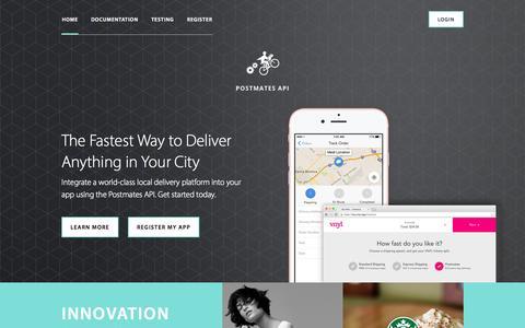 Screenshot of Developers Page postmates.com - Postmates API | Build on-demand delivery into your app or website. - captured Nov. 17, 2015