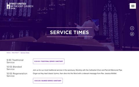 Screenshot of Services Page fumctulsa.org - FUMC Tulsa: Service Times - captured Oct. 13, 2017