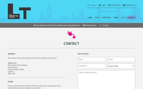 Screenshot of Contact Page londontea.co.uk - Contact - The London Tea Company - captured Dec. 1, 2016