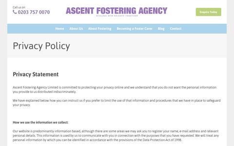 Screenshot of Privacy Page ascentfostering.com - Privacy Policy | Ascent Fostering Agency - captured Nov. 21, 2016