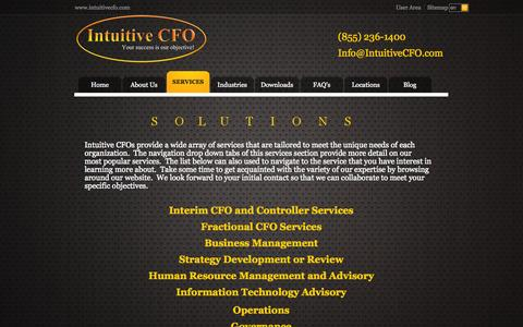 Screenshot of Services Page intuitivecfo.com - Services - Intuitive CFO - captured Sept. 30, 2014