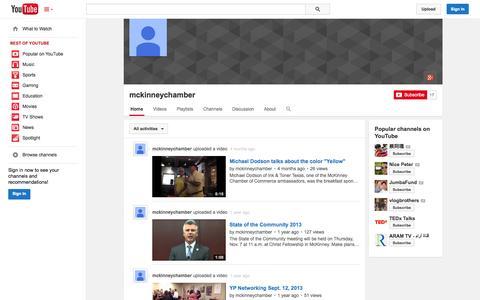 Screenshot of YouTube Page youtube.com - mckinneychamber  - YouTube - captured Nov. 3, 2014