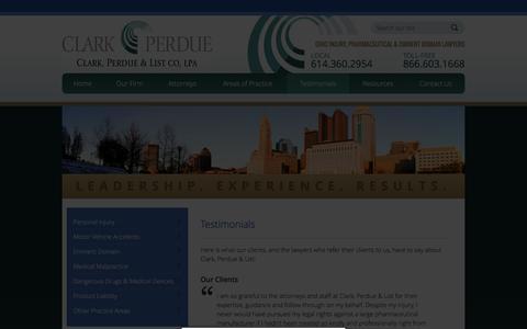 Screenshot of Testimonials Page clarkperdue.com - Testimonials - Law Firm Clark, Perdue & List Co, LPA Attorneys Columbus, Ohio - captured Jan. 28, 2016
