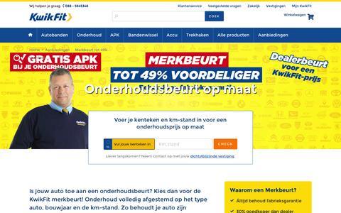 Screenshot of kwik-fit.nl - Onderhoudsbeurt op maat mét behoud garantie - KwikFit - captured April 14, 2016