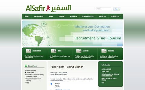 Screenshot of Contact Page alsafir-agency.com - Fadi Najem - Beirut Branch - captured Sept. 30, 2014