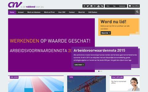Screenshot of Menu Page cnv.nl - CNV is de vakbond voor jou - captured Sept. 26, 2014