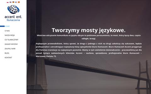 Screenshot of Home Page accent.pl - ACCENT biuro tłumaczeń Warszawa. Profesjonalne biuro tłumaczeń - captured Feb. 5, 2016