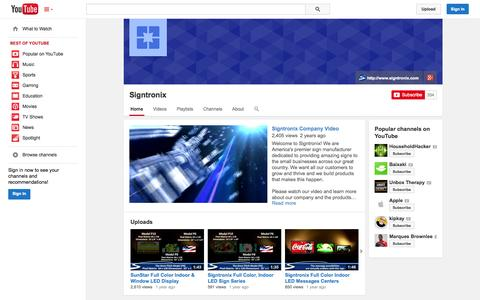 Screenshot of YouTube Page youtube.com - Signtronix  - YouTube - captured Oct. 26, 2014