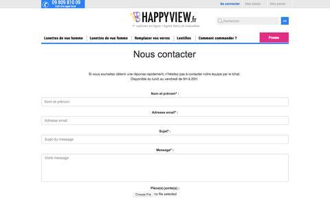 Screenshot of Contact Page happyview.fr - Contactez nos opticiens diplômés rapidement. - captured July 3, 2016