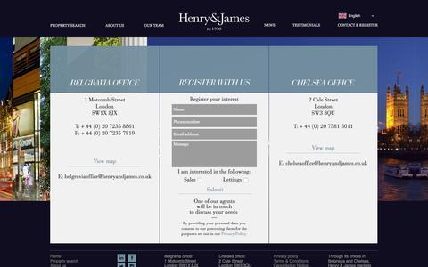 Screenshot of Contact Page henryandjames.co.uk - Estate Agents Offices in Belgravia & Chelsea - Henry & James - captured Jan. 28, 2016