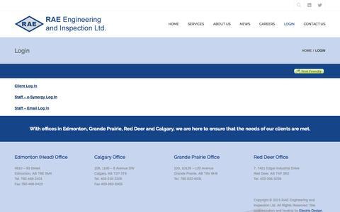 Screenshot of Login Page raeengineering.ca - Login – RAE Engineering and Inspection Ltd. - captured Feb. 17, 2016
