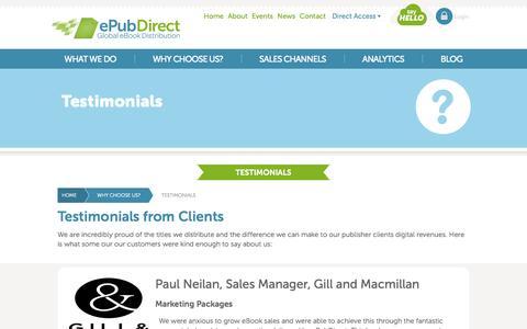 Screenshot of Testimonials Page epubdirect.com - ePubDirect - Global eBook Distribution - Testimonials - captured Sept. 16, 2014