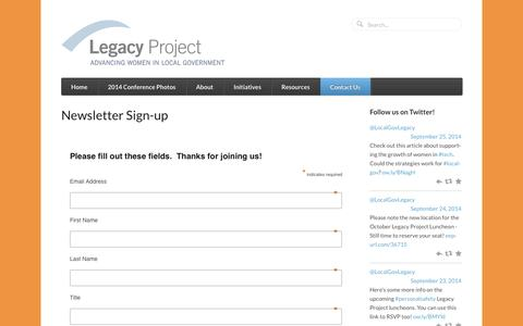 Screenshot of Signup Page legacyprojectnow.org - Newsletter Sign-up | Legacy Project - captured Oct. 2, 2014