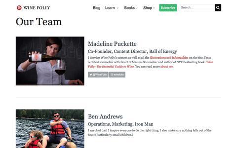 Screenshot of Team Page winefolly.com - Our Team | Wine Folly - captured Sept. 11, 2019