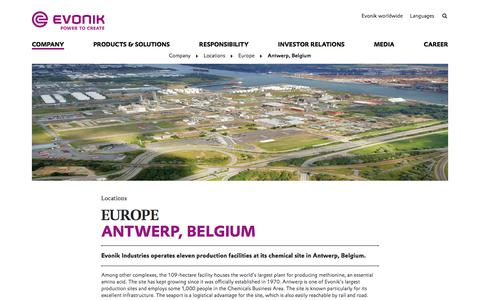 Evonik Industries - Specialty chemicals - Site Antwerp, Belgium - Evonik Industries AG