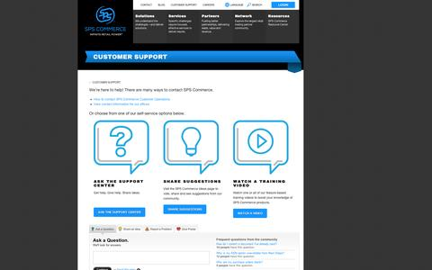 Screenshot of Support Page spscommerce.com - Customer Support | SPS Commerce - captured Sept. 12, 2014