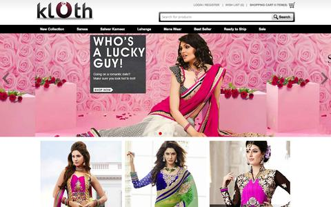 Screenshot of Home Page klothin.com - Online Shopping - Indian Clothing, Sarees, Salwar Kameez & Lehengas | Klothin - captured Sept. 24, 2014