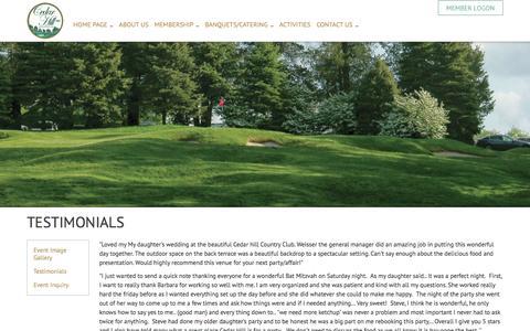 Screenshot of Testimonials Page cedarhillcc.com - Testimonials - Cedar Hill Country Club - captured Oct. 28, 2016
