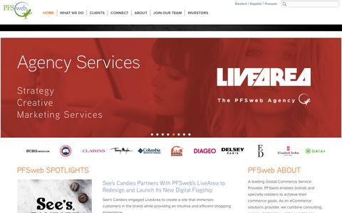 Screenshot of Home Page Menu Page pfsweb.com - The eCommerce solutions provider with omni-channel eCommerce solutions - PFSweb - captured Feb. 24, 2016