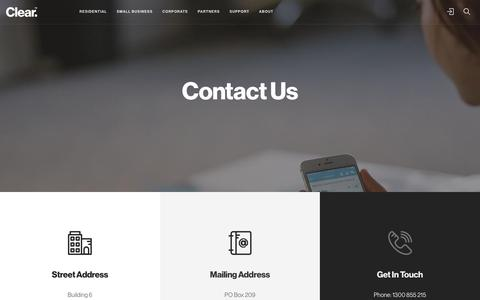 Screenshot of Contact Page clear.com.au - Contact Us - captured July 19, 2018