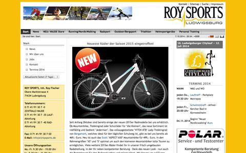 Screenshot of Home Page roysports.de - Start: Roy Sports - captured Oct. 7, 2014