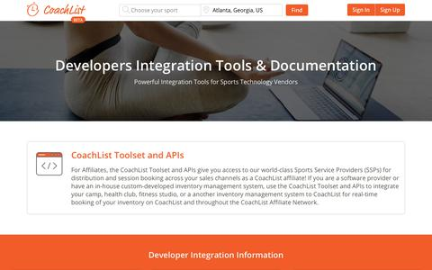 Screenshot of Developers Page coachlist.com - Developers Integration Tools & Documentation | CoachList - captured Dec. 15, 2018