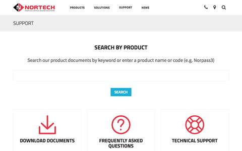 Screenshot of Support Page nortechcontrol.com - Nortech product search  | Nortech Control Systems Ltd - captured Feb. 25, 2016