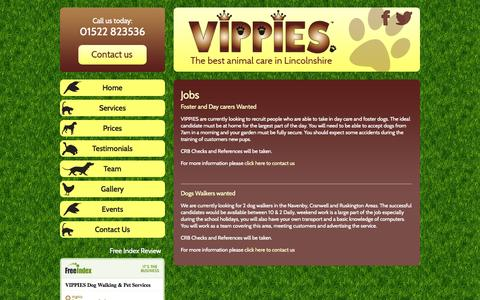 Screenshot of Jobs Page vipslincoln.co.uk - Pet jobs Lincolnshire - Vippies - captured Oct. 7, 2014