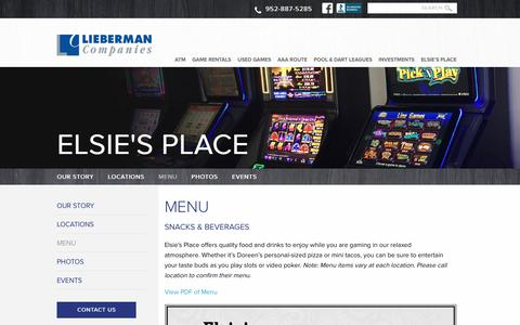 Screenshot of Menu Page liebermancompanies.com - Food and beverage menu for Elsie's Place in Illinois - captured Oct. 30, 2018