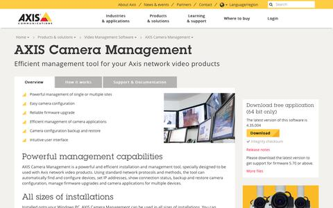 Screenshot of axis.com - AXIS Camera Management - Overview | Axis Communications - captured Nov. 22, 2017