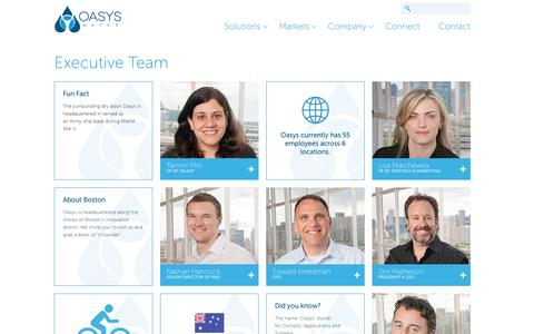 Screenshot of Team Page oasyswater.com - Executive Team | Oasys | Forward Osmosis Water Desalination Technology - captured Oct. 28, 2014