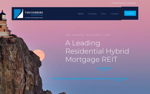 Screenshot of Home Page twoharborsinvestment.com - Two Harbors Investment Corp. - captured Oct. 19, 2018